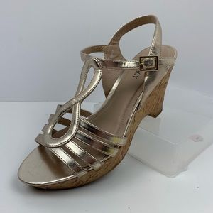 Ellen Tracy Metallic Gold Cork Wedge Sandals